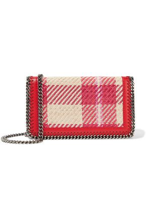 STELLA McCARTNEY Woven checked cotton and faux leather shoulder bag