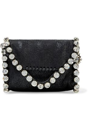STELLA McCARTNEY Crystal-embellished faux brushed-leather clutch