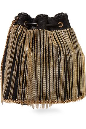 STELLA McCARTNEY Fringed faux brushed-leather bucket bag