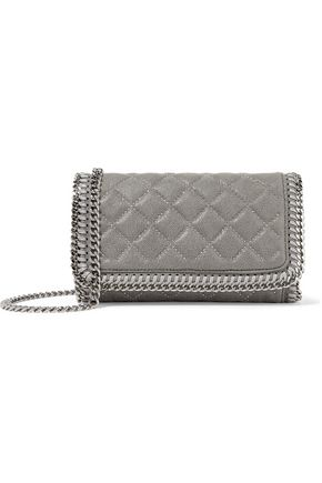 STELLA McCARTNEY Studded quilted faux brushed-leather shoulder bag
