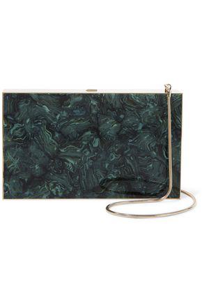 VICTORIA BECKHAM Marble-effect acetate box clutch