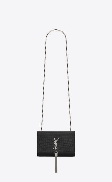 SAINT LAURENT MONOGRAM KATE WITH TASSEL Woman kate small with tassel in crocodile embossed leather a_V4