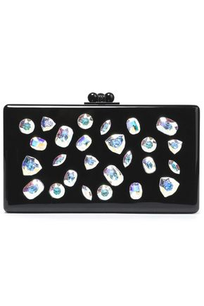 EDIE PARKER Crystal-embellished acrylic box clutch
