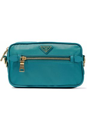 PRADA WOMAN TEXTURED LEATHER-TRIMMED SHELL SHOULDER BAG TURQUOISE 01c36d9bf7812