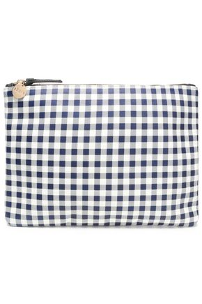 CLARE V. Checked leather clutch