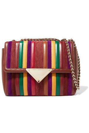 SARA BATTAGLIA Elizabeth paneled leather and suede shoulder bag