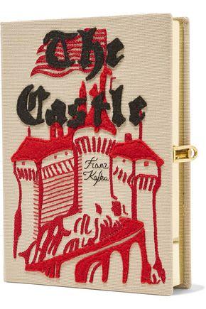 OLYMPIA LE-TAN Book felt-appliquéd cotton-faille clutch