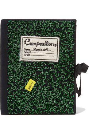 OLYMPIA LE-TAN Notebook felt-appliquéd beaded cotton-faille clutch