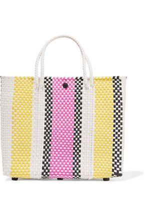 TRUSS Striped leather-trimmed woven raffia-effect tote