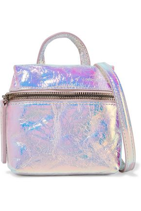 KARA Satchel micro holographic crinkled-leather shoulder bag