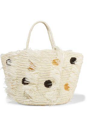 SENSI STUDIO Frayed polka-dot woven toquilla straw tote