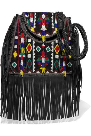 ANTIK BATIK Fringed embellished cotton-canvas and leather shoulder bag