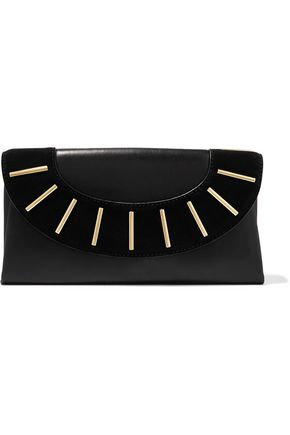 DIANE VON FURSTENBERG Embellished suede-paneled leather clutch
