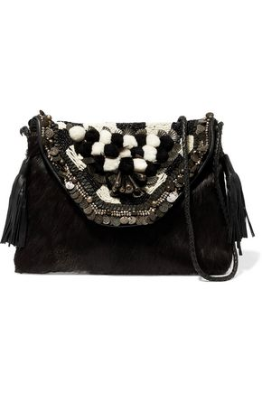 ANTIK BATIK Leather-trimmed embellished calf hair shoulder bag