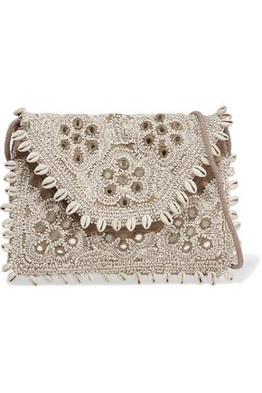 ANTIK BATIK Embellished embroidered cotton-canvas clutch