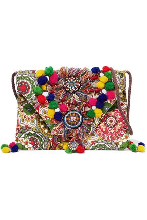 ANTIK BATIK Embellished printed cotton shoulder bag