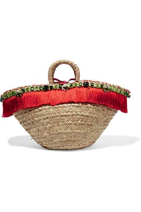 DOLCE & GABBANA Leather-trimmed embellished woven straw tote