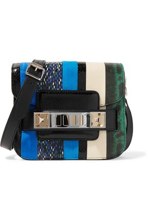 PROENZA SCHOULER PS11 Tiny striped watersnake, leather and suede shoulder bag