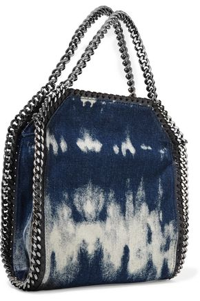 STELLA McCARTNEY Mini faux leather and chain-trimmed bleached denim shoulder bag