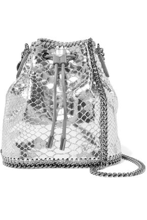 STELLA McCARTNEY Metallic snake-effect faux leather shoulder bag