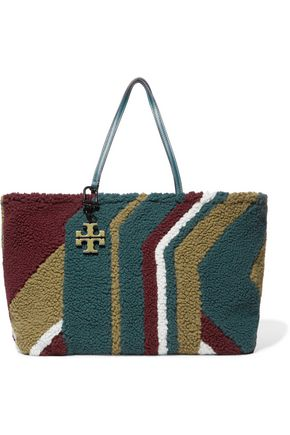TORY BURCH Britten color-block faux shearling tote