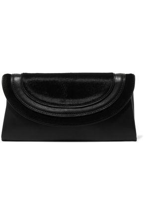 DIANE VON FURSTENBERG Calf hair-paneled leather clutch