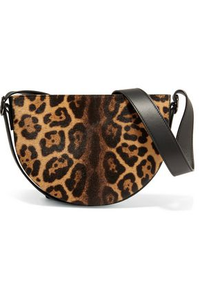 VICTORIA BECKHAM Baby Half Moon leopard-print calf hair shoulder bag