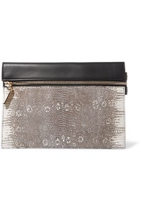 VICTORIA BECKHAM Lizard-paneled leather pouch
