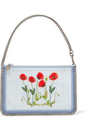 STELLA McCARTNEY Faux suede-trimmed embroidered denim shoulder bag