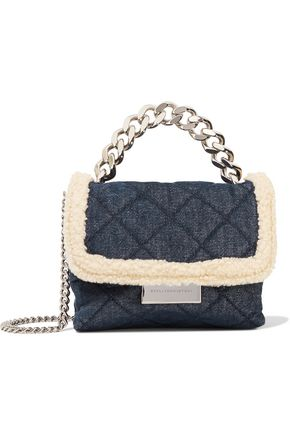 STELLA McCARTNEY Faux shearling-trimmed quilted denim shoulder bag