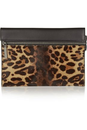VICTORIA BECKHAM Leopard-print calf hair and leather clutch