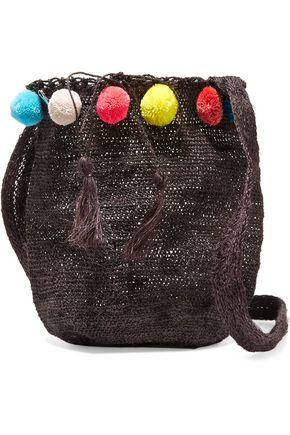 MUZUNGU SISTERS Pompom-embellished woven fique shoulder bag