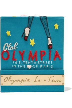 OLYMPIA LE-TAN Matchbook felt-appliquéd cotton-faille clutch