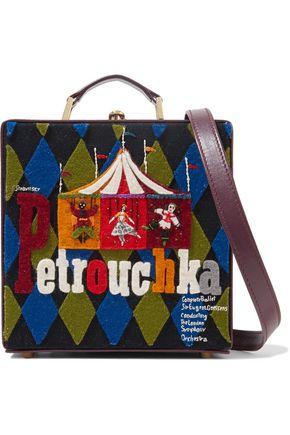 OLYMPIA LE-TAN Petrouchka felt-appliquéd leather shoulder bag