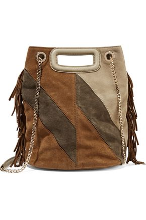 MAJE Color-block fringed suede shoulder bag