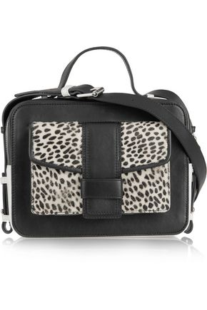 SANDRO Alexa cheetah-print calf hair and leather shoulder bag