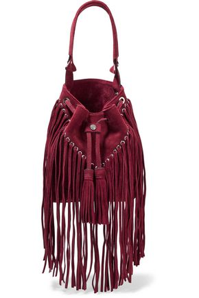 SANDRO Adula fringed suede bucket bag