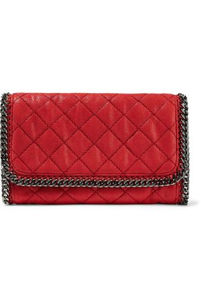 STELLA McCARTNEY Chain-trimmed faux brushed-leather clutch