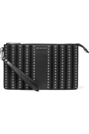MICHAEL KORS Brooklyn eyelet-embellished leather-paneled suede clutch