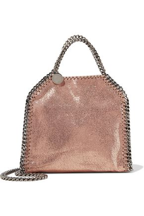 STELLA McCARTNEY Tiny Falabella metallic faux brushed-leather shoulder bag