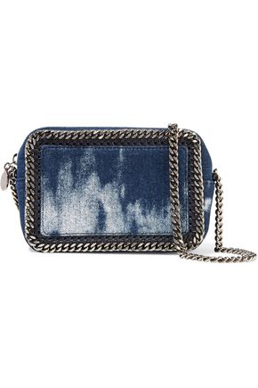 STELLA McCARTNEY Faux leather and chain-trimmed bleached denim shoulder bag