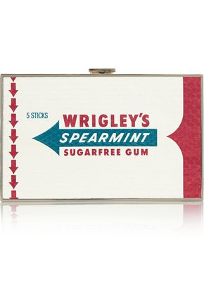 ANYA HINDMARCH Wrigley's Imperial Spearmint Gum elaphe and suede clutch