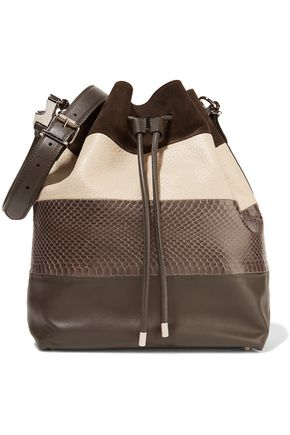 PROENZA SCHOULER Large watersnake, suede and leather bucket bag