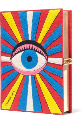 OLYMPIA LE-TAN Eye appliquéd cotton-faille clutch