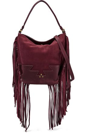 JÉRÔME DREYFUSS Mario fringed paneled suede shoulder bag
