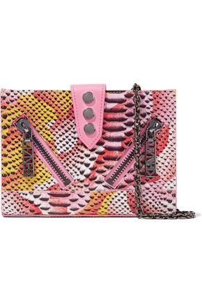 KENZO Paneled snake-effect leather shoulder bag