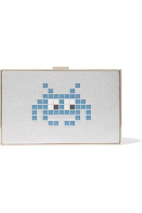 ANYA HINDMARCH Space Invader metallic textured-leather box clutch