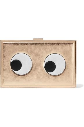 ANYA HINDMARCH Imperial Eyes Left metallic textured-leather box clutch