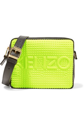 KENZO Paneled perforated leather and embossed neoprene shoulder bag