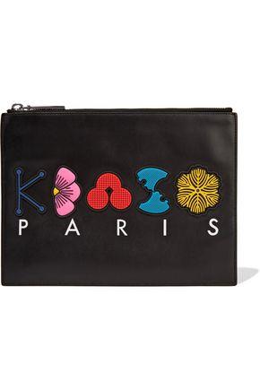 KENZO Appliquéd printed leather pouch